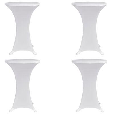 vidaXL Överdrag till ståbord Ø70 cm vit stretch 4 st