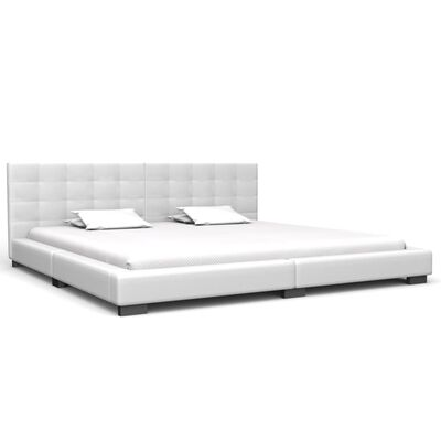 vidaXL Säng med madrass vit konstläder 180x200 cm