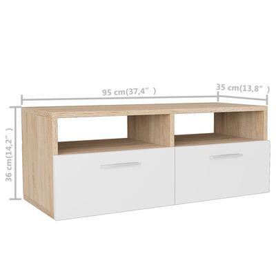 vidaXL TV-möbel spånskiva 95x35x36 cm ek och vit