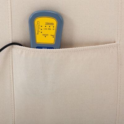 vidaXL Elektrisk massagefåtölj gräddvit tyg
