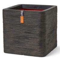 Capi Kruka Nature Rib fyrkantig 30x30x30 cm mörkbrun