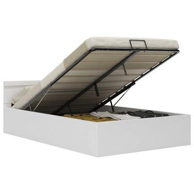 vidaXL Sängram hydraulisk förvaring LED vit konstläder 120x200 cm