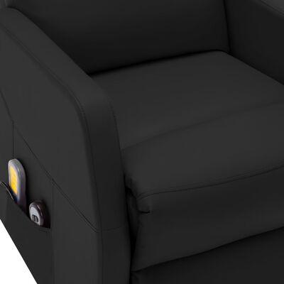 vidaXL Massagefåtölj med uppresningshjälp svart konstläder