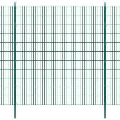 vidaXL 2D Stängselpaneler med stolpar 2008x2230 mm 6 m grön