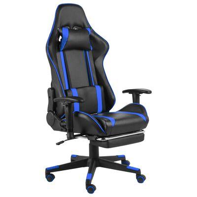 vidaXL Snurrbar gamingstol med fotstöd blå PVC
