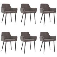 vidaXL Dining Chairs 6 pcs Light Grey Velvet (3x323104)