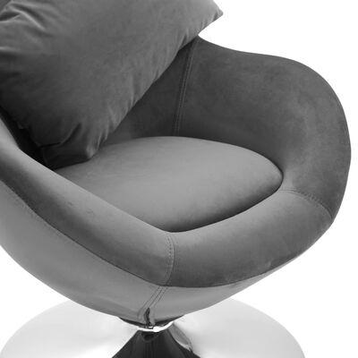 vidaXL Äggformad snurrfåtölj med dyna ljusgrå sammet
