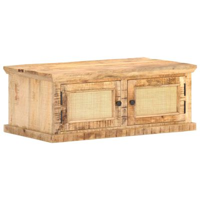 vidaXL Soffbord 90x50x35 cm massivt mangoträ och naturlig rotting