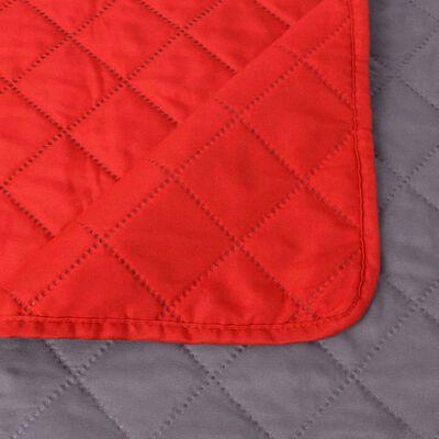 vidaXL Dubbelsidigt vadderat överkast röd och grå 220x240 cm, Röd och grå