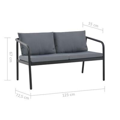vidaXL Trädgårdssoffa 2-sits med dynor aluminium grå