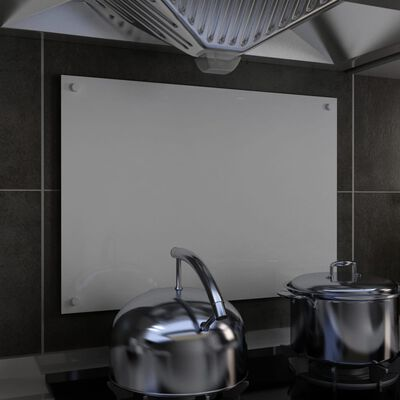 vidaXL Stänkskydd vit 70x50 cm härdat glas