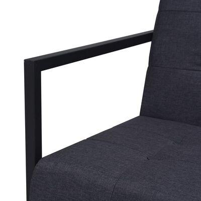 vidaXL Soffa med armstöd 2-sits stål och tyg mörkgrå