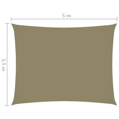 vidaXL Solsegel oxfordtyg rektangulärt 3,5x5 m beige