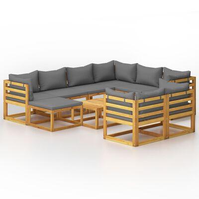 vidaXL Loungegrupp för trädgården med dynor 10 delar massivt akaciaträ