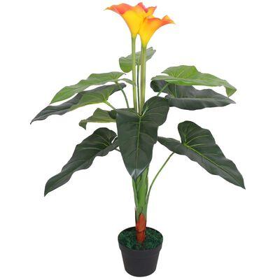 vidaXL Konstväxt Kalla med kruka 85 cm röd och gul