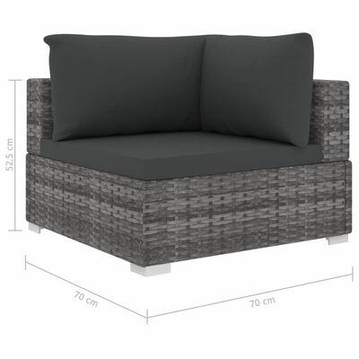 vidaXL Loungegrupp för trädgården med dynor 6 delar konstrotting grå