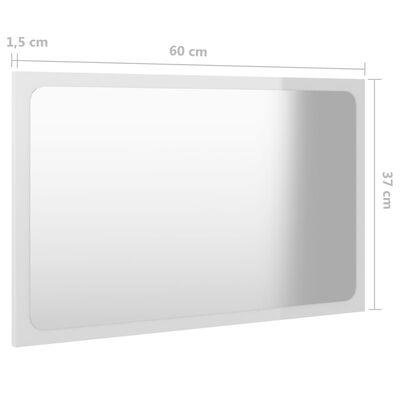 vidaXL Badrumsspegel vit högglans 60x1,5x37 cm spånskiva