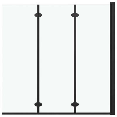 vidaXL Duschvägg fällbar 3 paneler ESG 130x138 cm svart