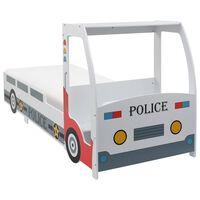 vidaXL Barnsäng polisbil med memoryskummadrass 90x200 cm