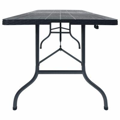 vidaXL Hopfällbart trädgårdsbord svart 180x75x72  cm HDPE konstrotting
