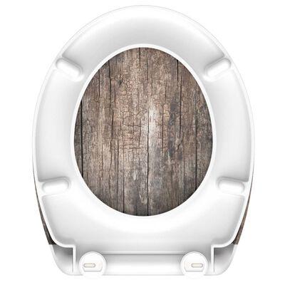 SCHÜTTE Toalettsits med mjuk stängning duroplast OLD WOOD