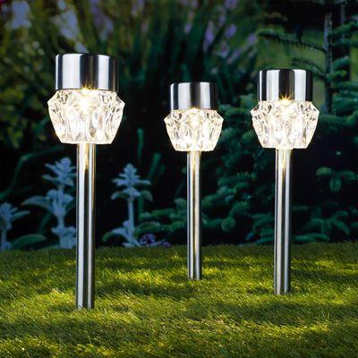 HI Soldrivna LED-stiglampor 3 st kristall