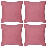 4 Kuddöverdrag i bomull rosa 40 x 40 cm