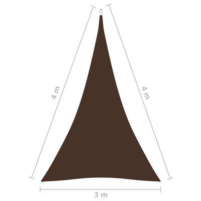 vidaXL Solsegel oxfordtyg trekantigt 3x4x4 m brun