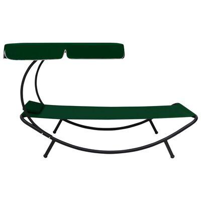 vidaXL Solsäng med tak & kudde grön