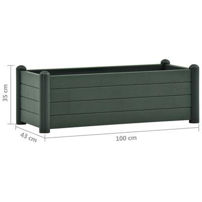 vidaXL Upphöjd odlingslåda PP grön 100x43x35 cm