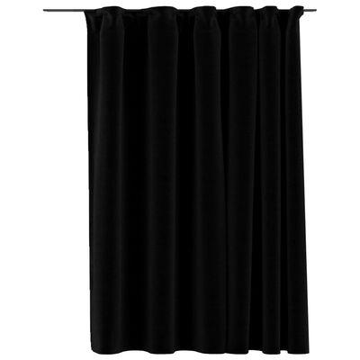 vidaXL Mörkläggningsgardin med krokar linnelook svart 290x245 cm