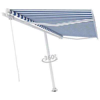 vidaXL Markis manuellt infällbar fristående 400x350 cm blå och vit