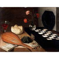 Still Life with Chessboard,Lubin Baugin,50x40cm