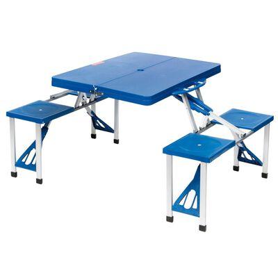 Bo-Camp Picknickbord-set Basic blå stål 1404374