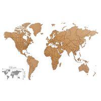 MiMi Innovations Väggdeko världskarta Luxury pussel brun 100x60 cm