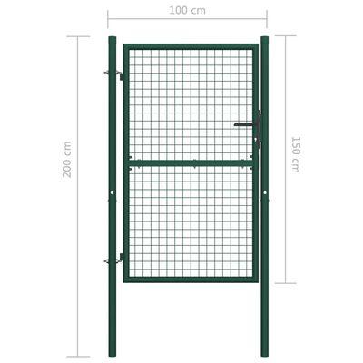 vidaXL Grind stål 100x150 cm grön