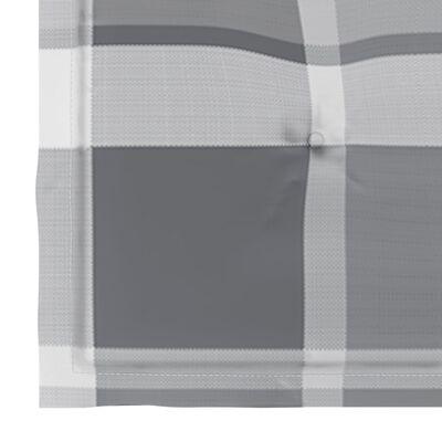 vidaXL Trädgårdsstolar med dynor grått rutmönster 4 st massiv teak