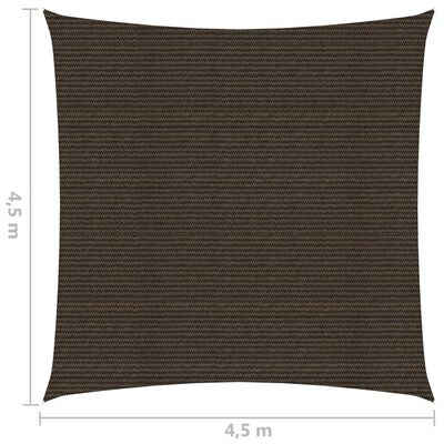 vidaXL Solsegel 160 g/m² brun 4,5x4,5 m HDPE