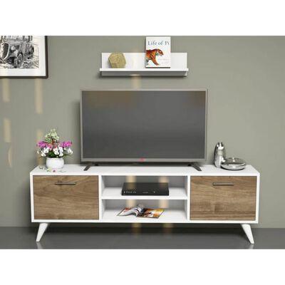 Homemania TV-bänk Horus 120x30x48,6 cm vit och valnötsträ