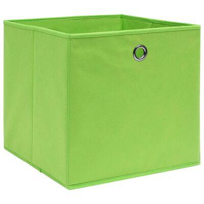 vidaXL Förvaringslådor 10 st grön 32x32x32 cm tyg, Greenwithoutlids