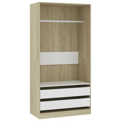 vidaXL Garderob vit och sonoma-ek 100x50x200 cm spånskiva