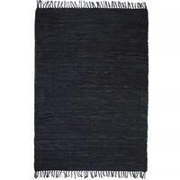 vidaXL Handvävd matta Chindi läder 80x160 cm svart