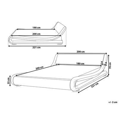 Vattensäng med tillbehör 180 x 200 cm konstläder vit AVIGNON