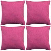 vidaXL Kuddöverdrag 4 st linne-design 40x40 cm rosa