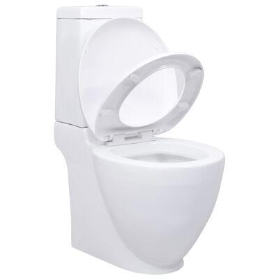 vidaXL Keramisk toalettstol rund vattenutlopp i botten vit