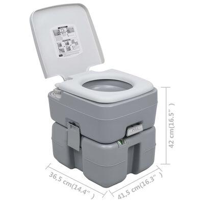 vidaXL Portabel campingtoalett grå 20+10 L