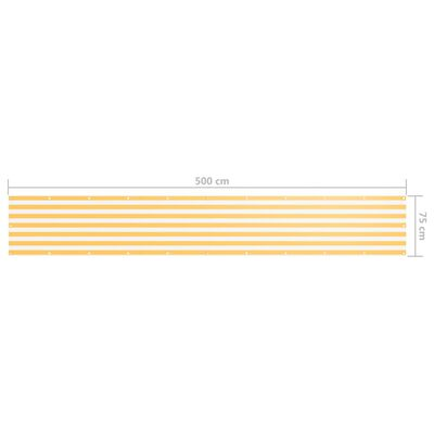 vidaXL Balkongskärm vit och gul 75x500 cm oxfordtyg