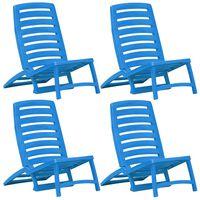 vidaXL Hopfällbara strandstolar för barn 4 st plast blå