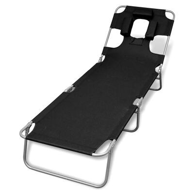 vidaXL Hopfällbar solsäng med huvudkudde pulverlackerat stål svart, Black