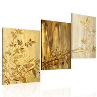 Handmålad Tavla - Gyllene Blad - 120x60 Cm